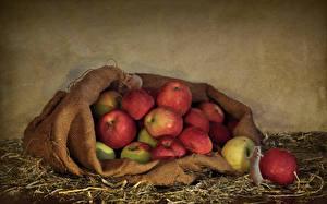 Фотографии Яблоки Солома Продукты питания