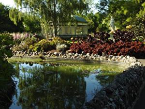 Фотографии Австралия Парки Пруд Камень Скульптуры Кусты Ballarat Botanic Gardens Природа