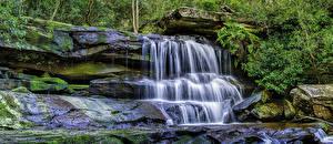Картинки Австралия Водопады HDR Мох Природа
