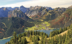 Обои Австрия Горы Озеро Здания Леса Pertisau Tirol Природа
