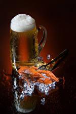 Фотографии Пиво Раки Цветной фон Кружка Пена Лед Еда