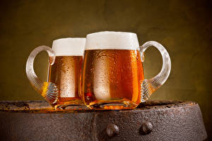 Картинка Пиво Две Кружка Пена Еда