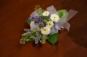 Обои Букет Хризантемы Ленточка Цветы