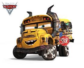 Картинки Автобус Тачки 3 Белый фон school bus Мультфильмы