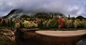 Обои Канада Леса Озеро Quebec Природа