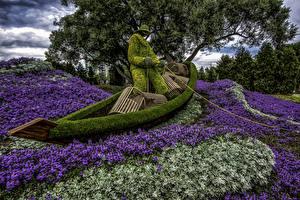 Фотографии Канада Парки Лодки Ловля рыбы Дизайн Ottawa  Lobelia Природа