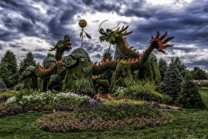 Обои Канада Парки Драконы Дизайн Китайские Ottawa Природа
