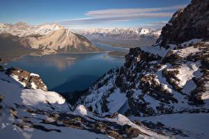 Обои Канада Парки Горы Озеро Зима Банф Снег Природа картинки