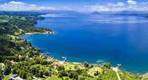 Картинки Чили Пейзаж Озеро Берег Patagonia Lago Rupanco Природа