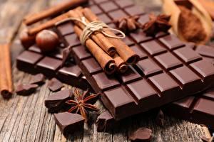 Картинки Шоколад Корица Бадьян звезда аниса Вблизи Продукты питания