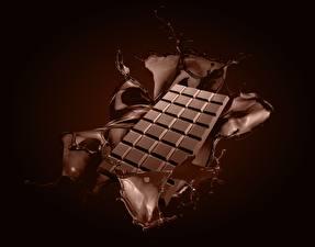 Фотографии Шоколад Шоколадка С брызгами Еда