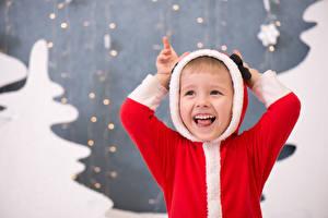 Фото Рождество Мальчики Униформа Смех ребёнок