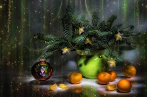 Фотографии Рождество Натюрморт Мандарины Ветки Шарики Звездочки Пища