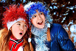 Фотография Новый год Два Девочки Мальчики Дети