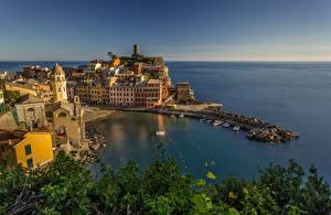 Фотография Побережье Дома Италия Лигурия Бухта Cinque Terre