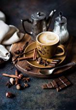 Картинка Кофе Шоколад Корица Орехи Бадьян звезда аниса Чашка Пища