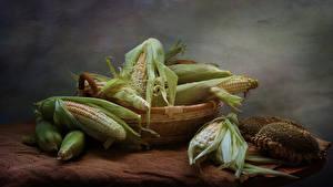 Фотографии Кукуруза Подсолнечник Корзина Пища