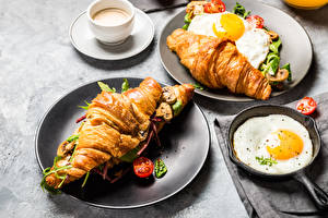 Картинка Круассан Овощи Завтрак Яичница Чашка Пища