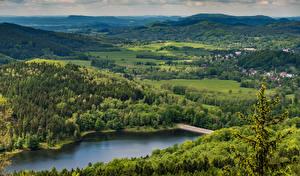 Обои Чехия Леса Реки Холмы Природа