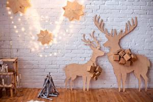 Картинки Олени Рождество Стена Кирпичный