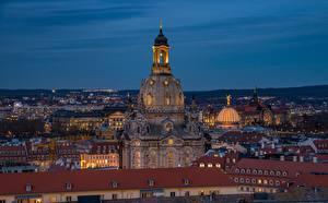 Фото Дрезден Германия Здания Вечер Крыша Frauenkirche Города