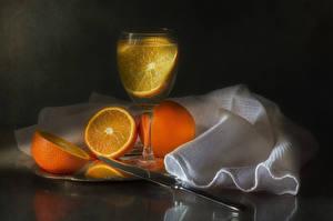 Обои Напитки Апельсин Ножик Бокалы Пища