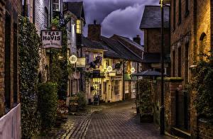 Обои Англия Здания Вечер Улица Stafford Города