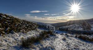 Фото Англия Зимние Снег Солнце Ограда Холмы Lake District National Park