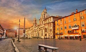 Картинки Вечер Италия Рим Здания Улица Городская площадь Piazza Navona Города
