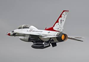 Фото Самолеты Истребители F-16 Fighting Falcon Американские Серый фон F-16D Thunderbirds, General Dynamics