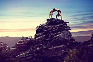 Обои Фитнес Утес Физические упражнения Девушки Спорт