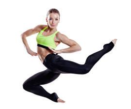Фотографии Фитнес Белым фоном Униформа В прыжке девушка Спорт