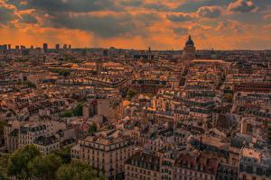 Картинки Франция Здания Рассветы и закаты Вечер Париж Мегаполис Сверху Города