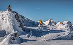 Фотографии Франция Зимние Альпы Утес Снег