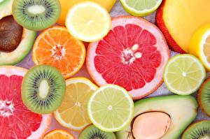 Фото Фрукты Цитрусовые Киви Лимоны Продукты питания