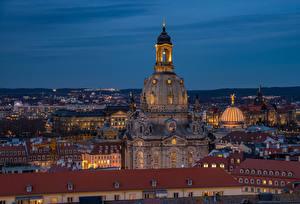 Картинка Германия Дрезден Здания Вечер Церковь Города