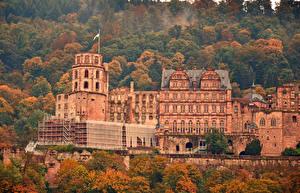 Картинки Германия Здания Осень Heidelberg Города