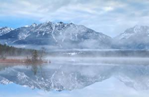 Обои Германия Озеро Горы Бавария Альпы Туман
