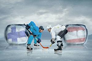 Фотографии Хоккей Мужчины Вдвоем Шлем Коньки