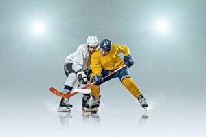 Фотография Хоккей Мужчины 2 Униформа Шлем Коньки