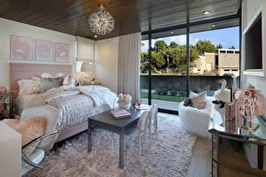 Обои Интерьер Детская комната Дизайн Кровать Люстра