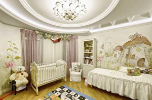 Картинка Интерьер Детская комната Плюшевый мишка Дизайн Кровать