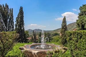 Обои Италия Парки Фонтаны Деревья Villa D'Este Tivoli Природа картинки