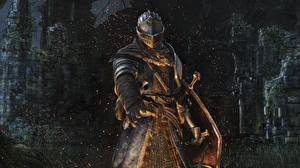 Картинка Рыцарь Dark Souls Воители Броня Шлем Игры Фэнтези