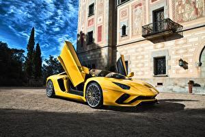 Фотографии Lamborghini Желтый Aventador Автомобили
