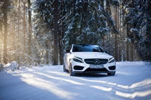 Картинка Mercedes-Benz Белый Спереди Снег mercedes c63 amg c450 Машины