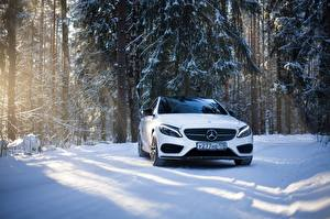 Картинка Mercedes-Benz Белая Спереди Снег mercedes c63 amg c450 авто