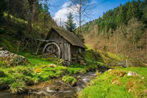 Обои Ручей Траве Водяная мельница