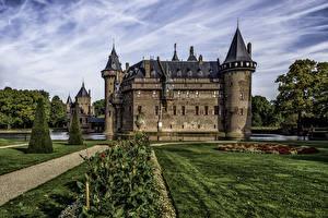 Картинки Нидерланды Замки Ландшафтный дизайн Газон Castle De Haar