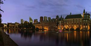Фотографии Нидерланды Здания Фонтаны Вечер Водный канал Hague Города